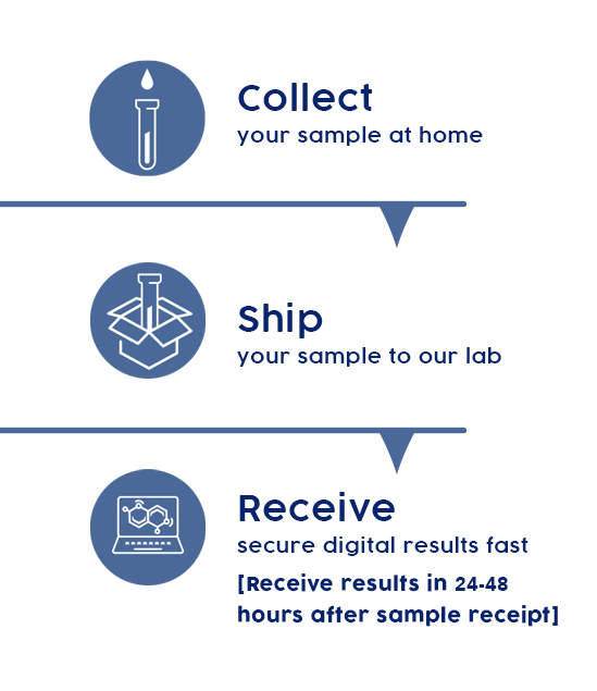 Collect. Ship. Receive you results in 24-48h after sample receipt.